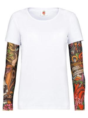 Белая футболка с тату рукавами SAM PHILLIPS (детская)